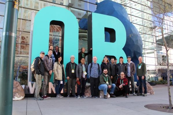 Senior industrial design student Adam Westfall (standing third from right), attended the Outdoor Retail Market in Denver, Colorado as part of his capstone course. Photo submitted