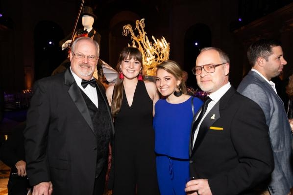 From left, associate professor Alex Poorman, interior design seniors Cassie Hutchens and Caroline DiBerto, and Applied Design Department Chair Brian Davies at the PAVE gala in New York City on Dec. 5. Photo credit @PAVE and @marcelacussolin