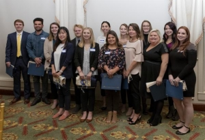 Interior design senior Casey Anderson (third from left) and industrial design senior Noah Howells (fifth from left) were recognized by the Carolinas Chapter of the International Furnishing and Design Association as