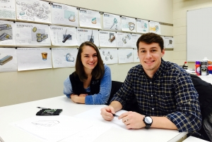 Elizabeth Foster, left, and Garrett Peebles, won second place in an international design competition that focused on beverage packaging solutions.