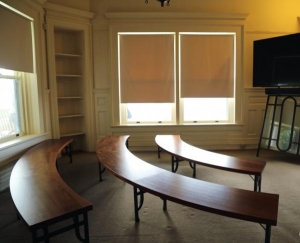 Students in assistant professor Cameron Van Dyke's design studio built new furniture for the Moses Cone Manor mini-theater with funding from Dr. Beth Davison's Chancellor's Innovation Scholars grant. Photo courtesy of Dr. Beth Davison